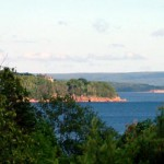 The grounds of the Bell Museum offer spectacular views of Baddeck Bay and the Bell summer home.